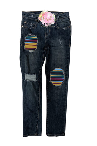 Fall Stripes Messy Denim Jeans