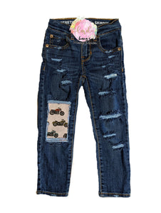 Motorcycle Messy Denim Jeans