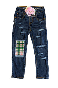 Girls Irish Plaid Messy Denim