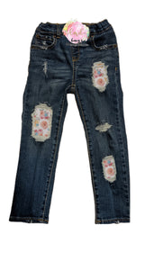 Spring Bloom Messy Denim
