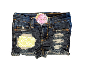 Yellow Lace Messy Denim