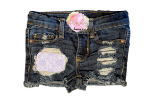 Lilac Lace Messy Denim