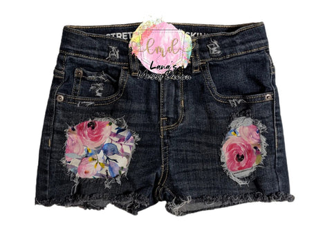 Floral Lavendar Stripe Messy Denim Shorts