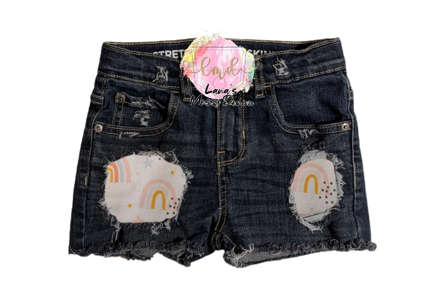 Rainbow Messy Denim Shorts