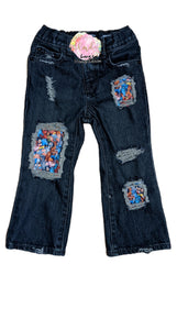2T Magical Character Messy Denim Bootcut Jeans