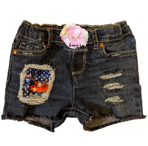American Flag Messy Denim