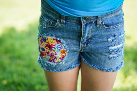 Trolls 2 Messy Denim Shorts