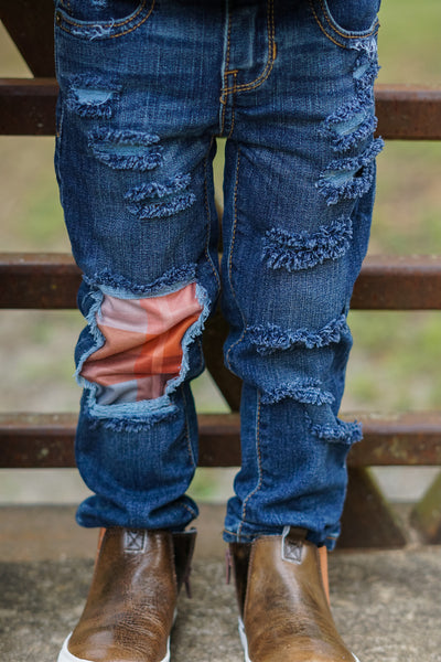 Fall Plaid Messy Denim Jeans