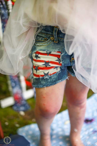 Patriotic Messy Denim Shorts