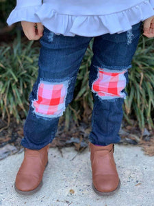 Red, Pink & White Plaid Messy Denim