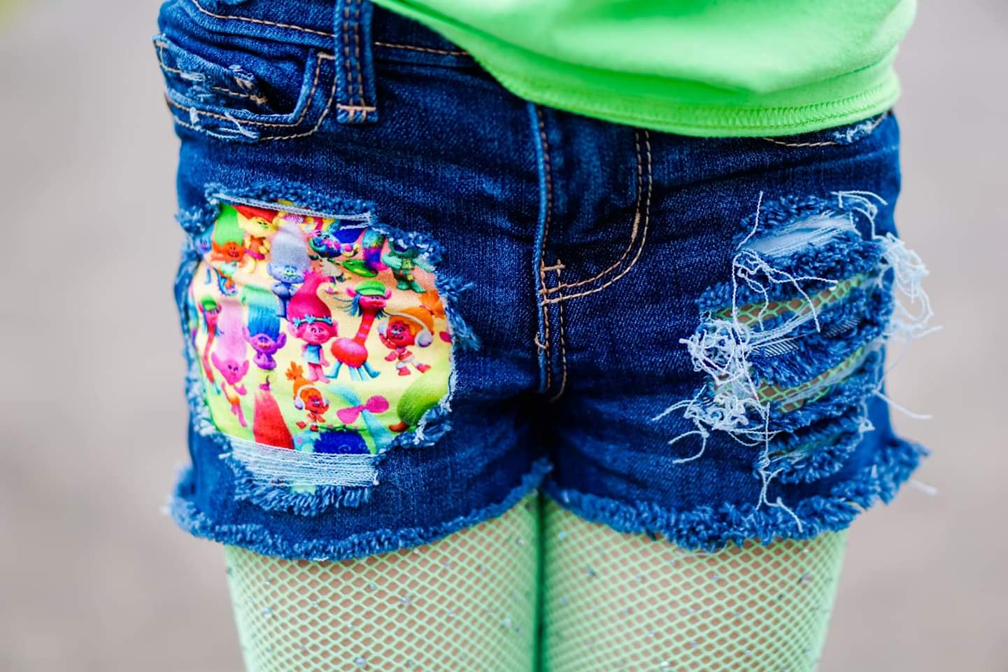 Trolls Messy Denim Shorts