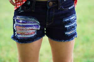 Patriotic Paint Messy Denim Shorts