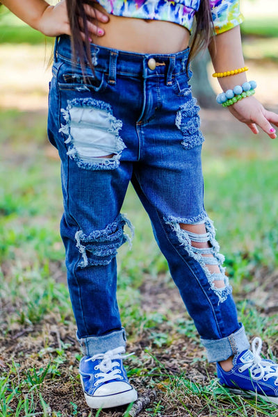 Ruggedly Chic Messy Denim Jeans