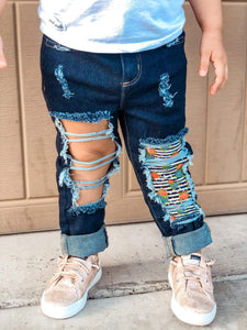 Cheetah Pumpkin Messy Denim Jeans