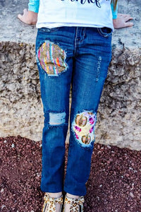 Serape Pumpkins Messy Denim Jeans