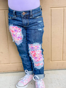 Floral Love Messy Denim