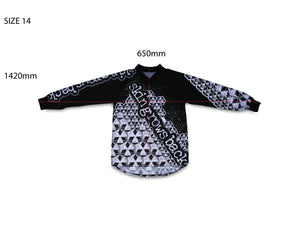 skingrowsback star tetrahedron jersey black and white youth size 14