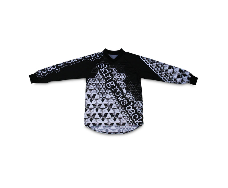 skingrowsback star tetrahedron jersey black and white youth