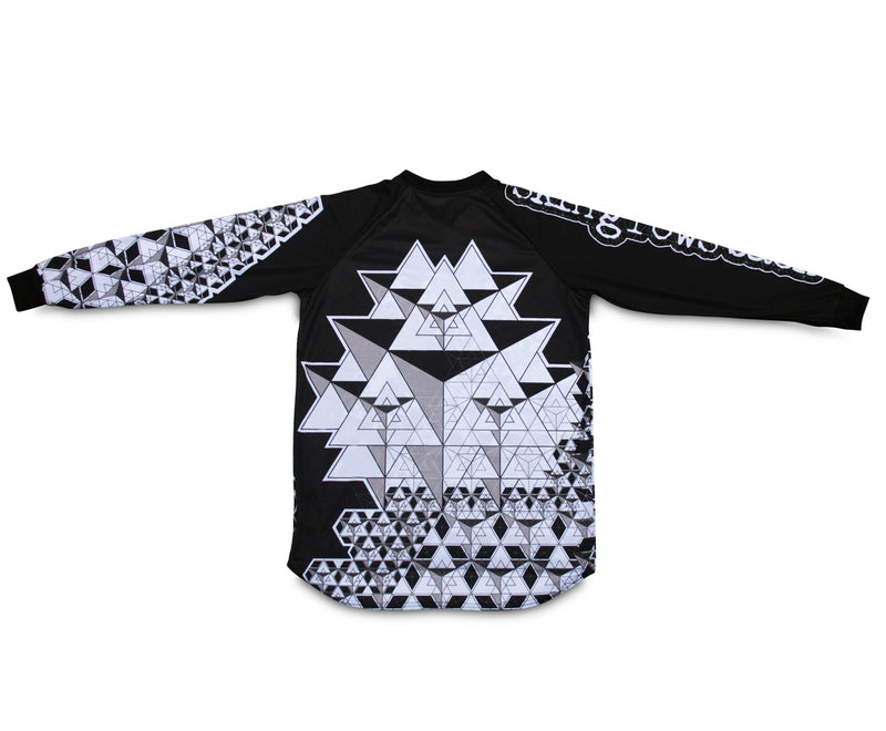skingrowsback star tetrahedron jersey adult black white back