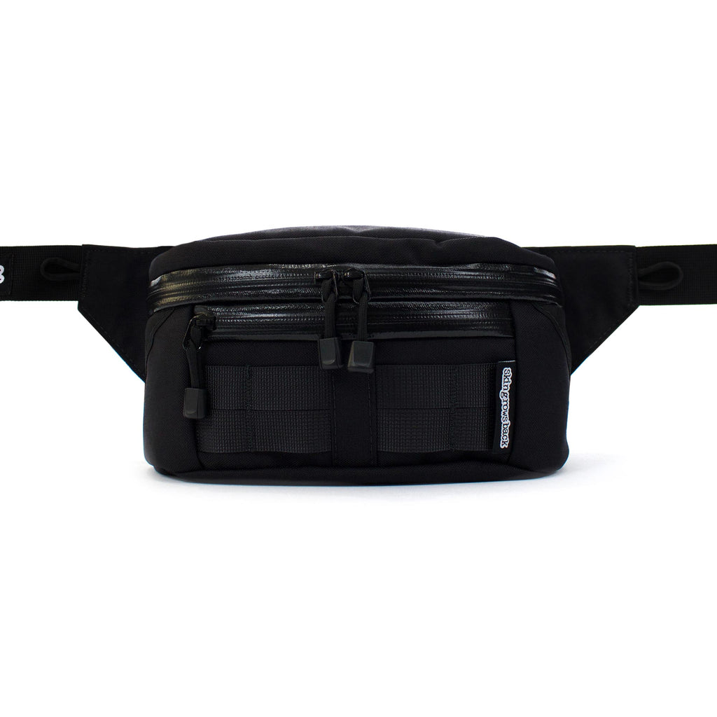 skingrowsback b double bum bag black front