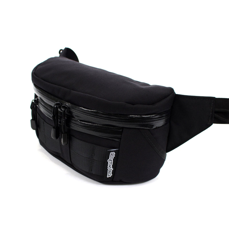 skingrowsback b double bum bag black side