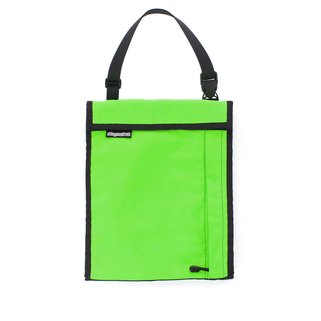 skingrowsback velodrome chainring bag track cycling neon green