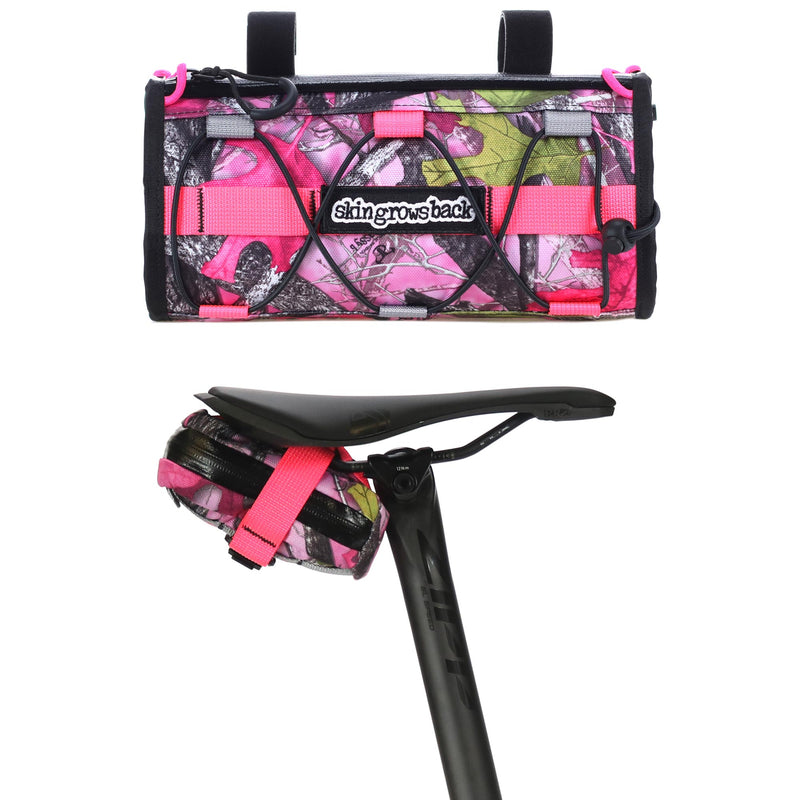 skingrowsback lunchbox handlebar bag gravel cycling made in australia sassy b pink camo
