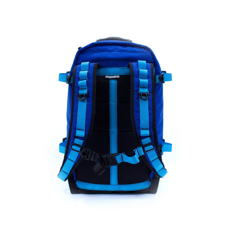 skingrowsback pak30 30 litre backpack custom royal blue aqua  back