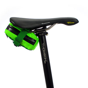 skingrowsback plan b cycling saddle bag neon green strap ds