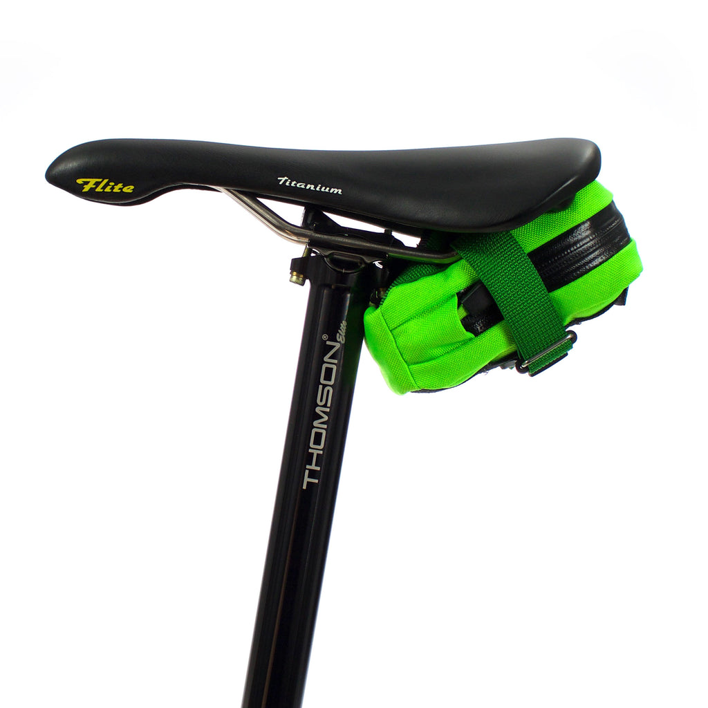skingrowsback plan b cycling saddle bag neon green strap nds