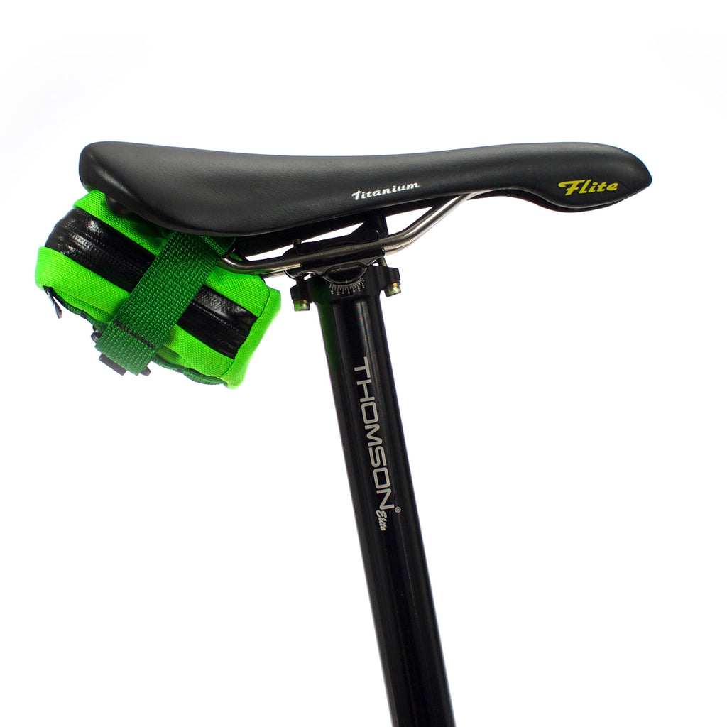 skingrowsback Plan B Micron cycling saddle bag Neon Green strap ds