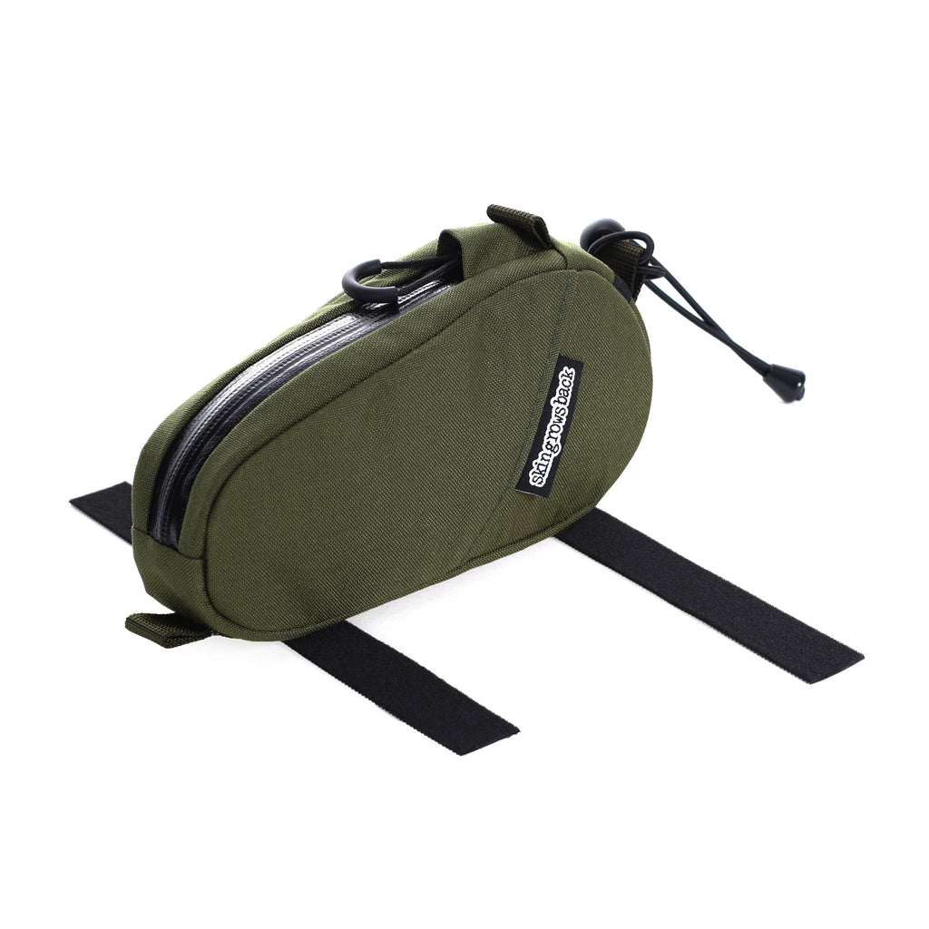 skingrowsback amigo top tube bag gravel cycling adventure bike olive