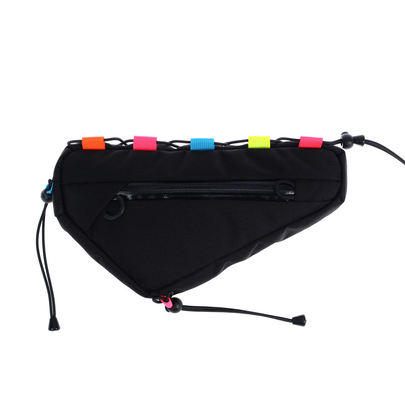 skingrowsback wedge cycling frame bag lace up neon