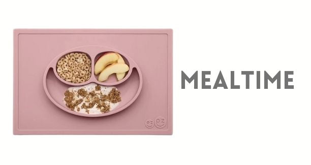 Shop our mealtime kids collection. You'll find lots of silicone dinnerware by EZPZ, Bella Tuno and Bumkins. The Happy Mat is our best seller. Skiphop 5 piece feeding set makes the perfect gift. RE-Play recycled plates, tumblers, bowls are also a hit.