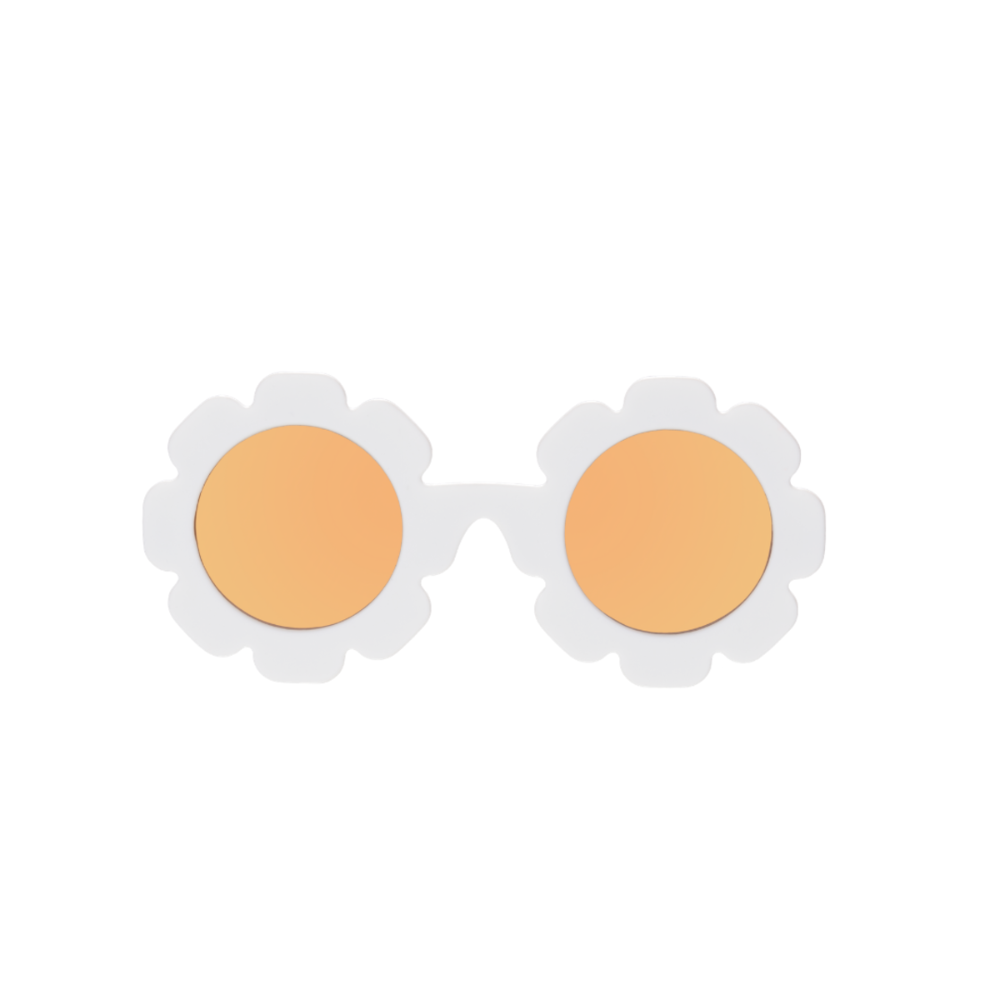 Babiators sunglesses shaped like daisies have a white frame and yellow polarized lenses.