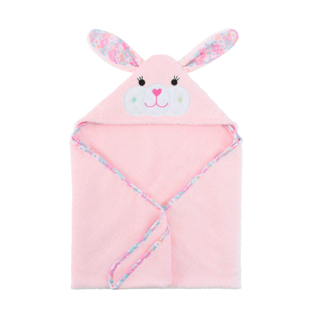 Pink bunny hooded towel with a floral pattern in its ears.