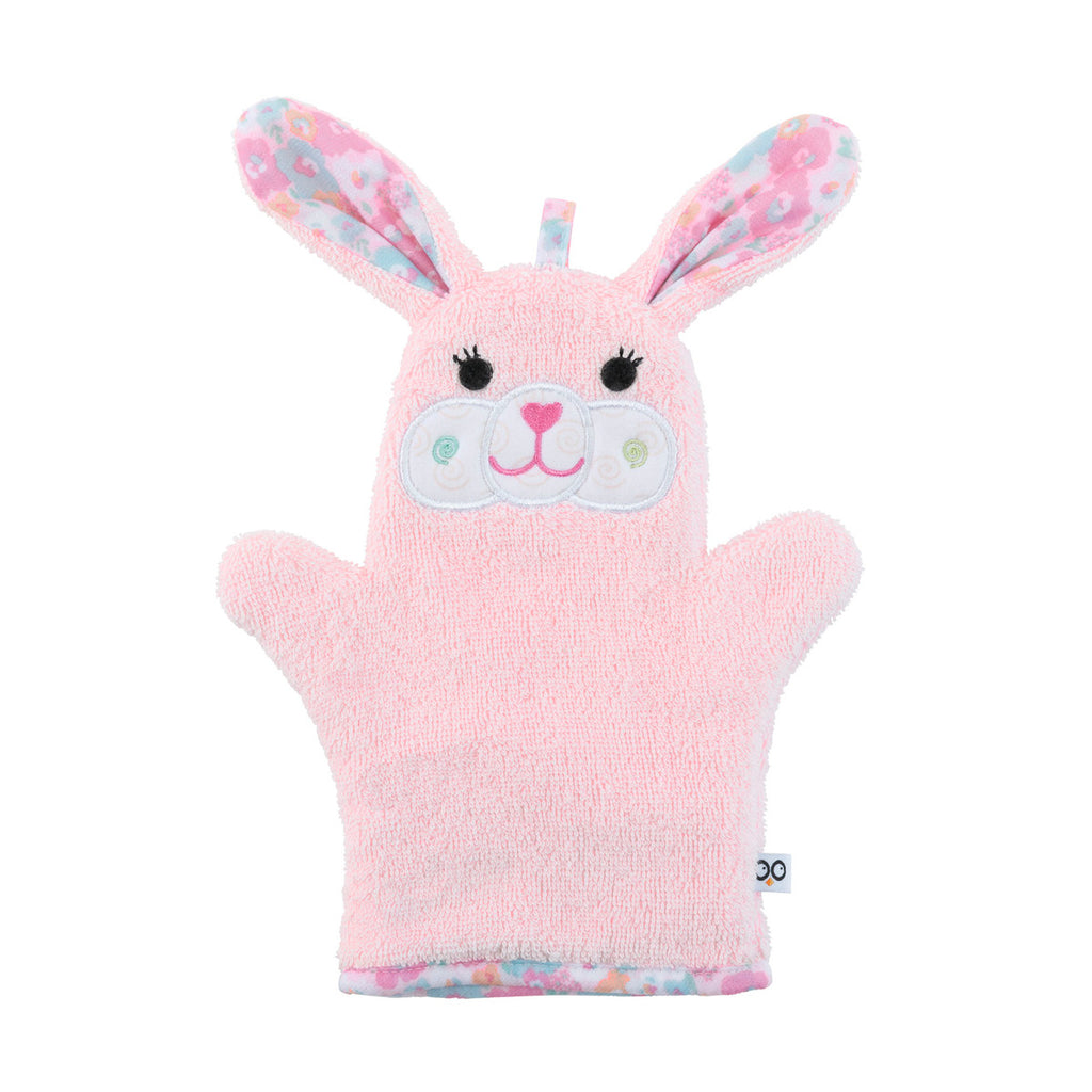Pink bunny bath mitt is so cute with floral ears.