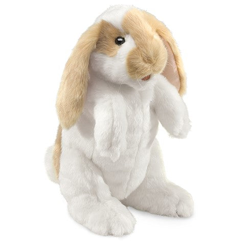 Adorable brown and white standing bunny puppet with long ears.