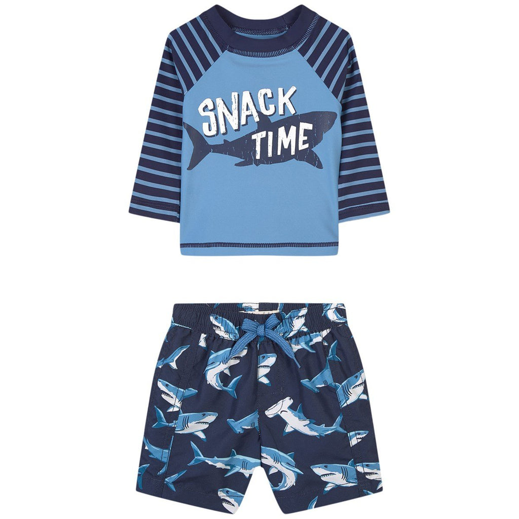 Hatley deep sea shark 2 piece bathing suit with shark bottoms and a blue long sleeve top