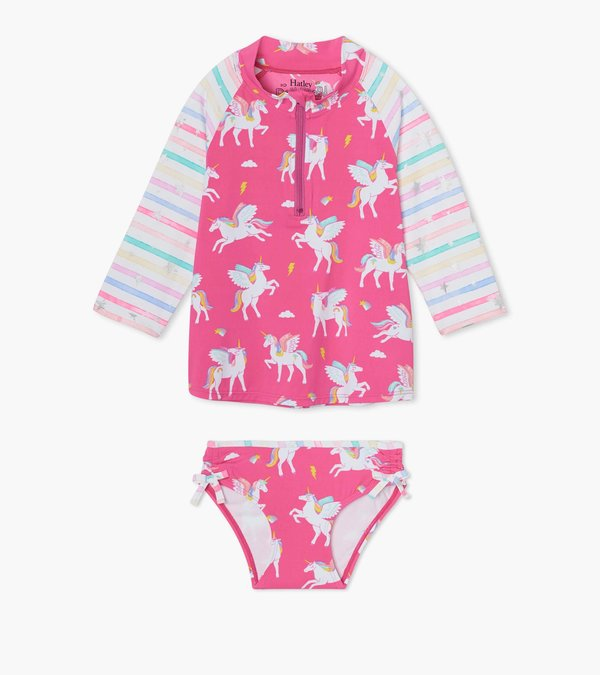 2 piece Hatley Pegasus rashguard has magical unicorns and pink, purple and yellow stripes