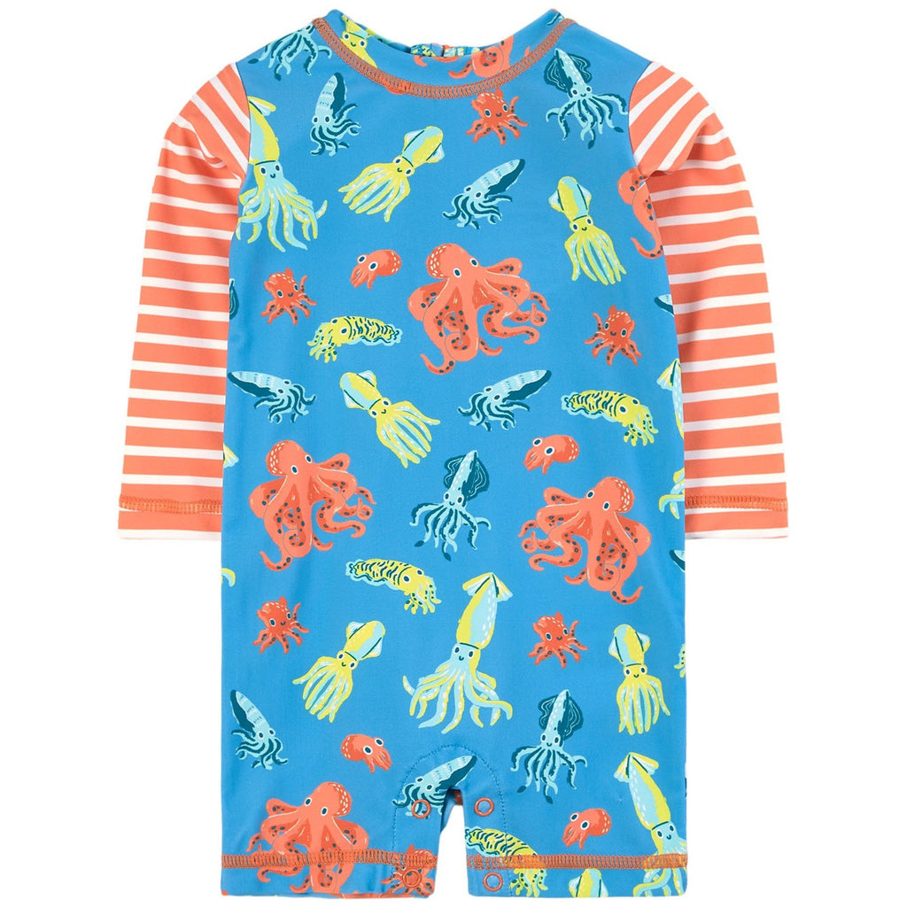 one piece Hatley rashguard with orange octopuses and stripes