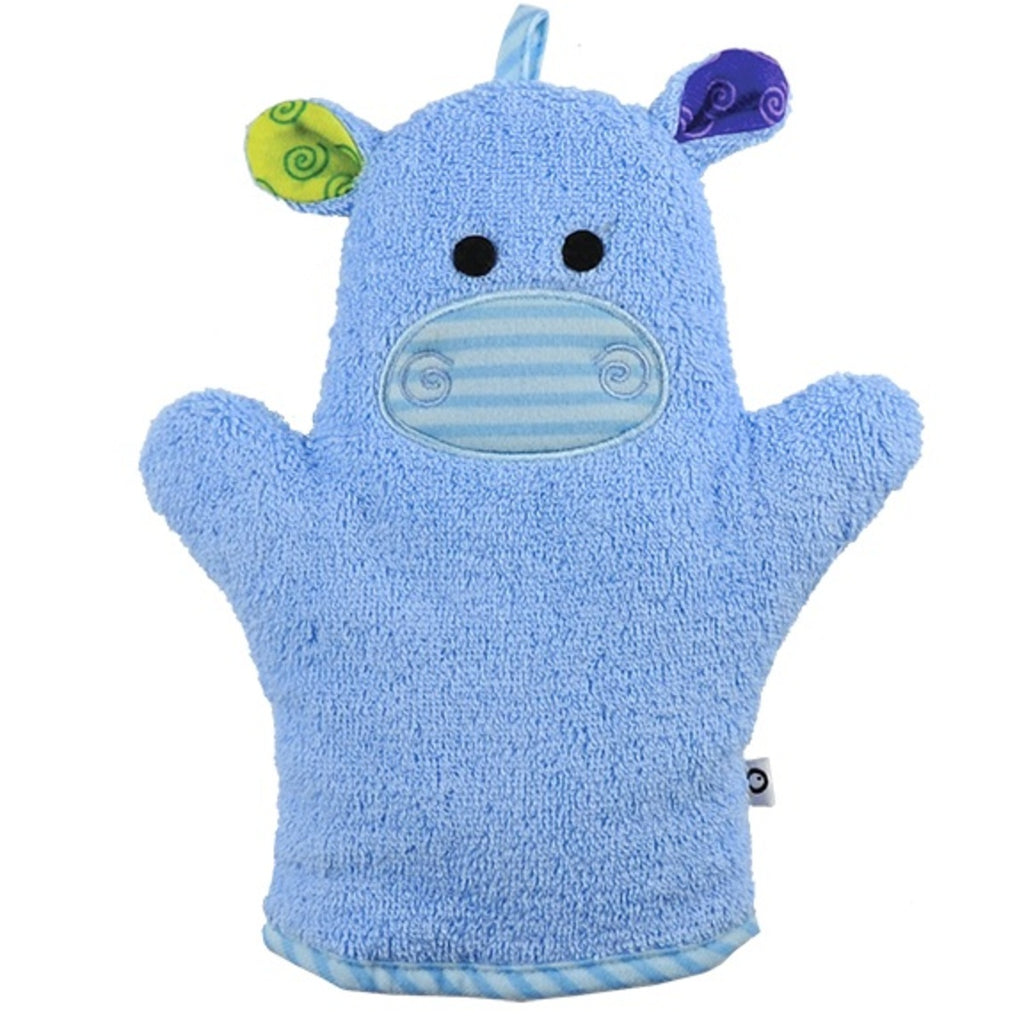 Blue hippo bath mitt has blue and green ears and a cute face.