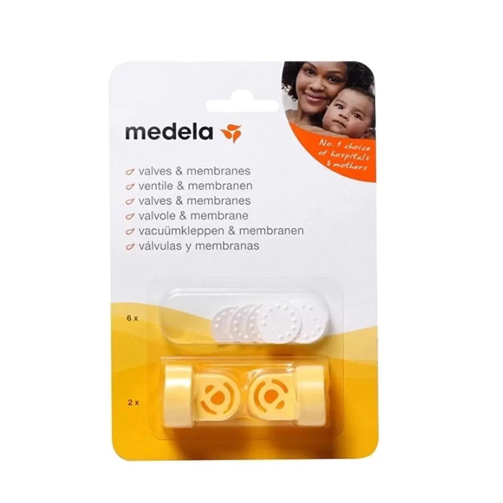 Card with see through bubble with 6 white membranes and 2 yellow valves for Medela breast pumps.