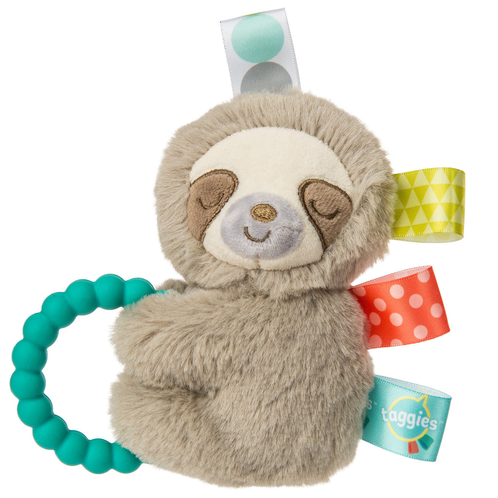 Cute fuzzy sloth rattle with textured taggies.