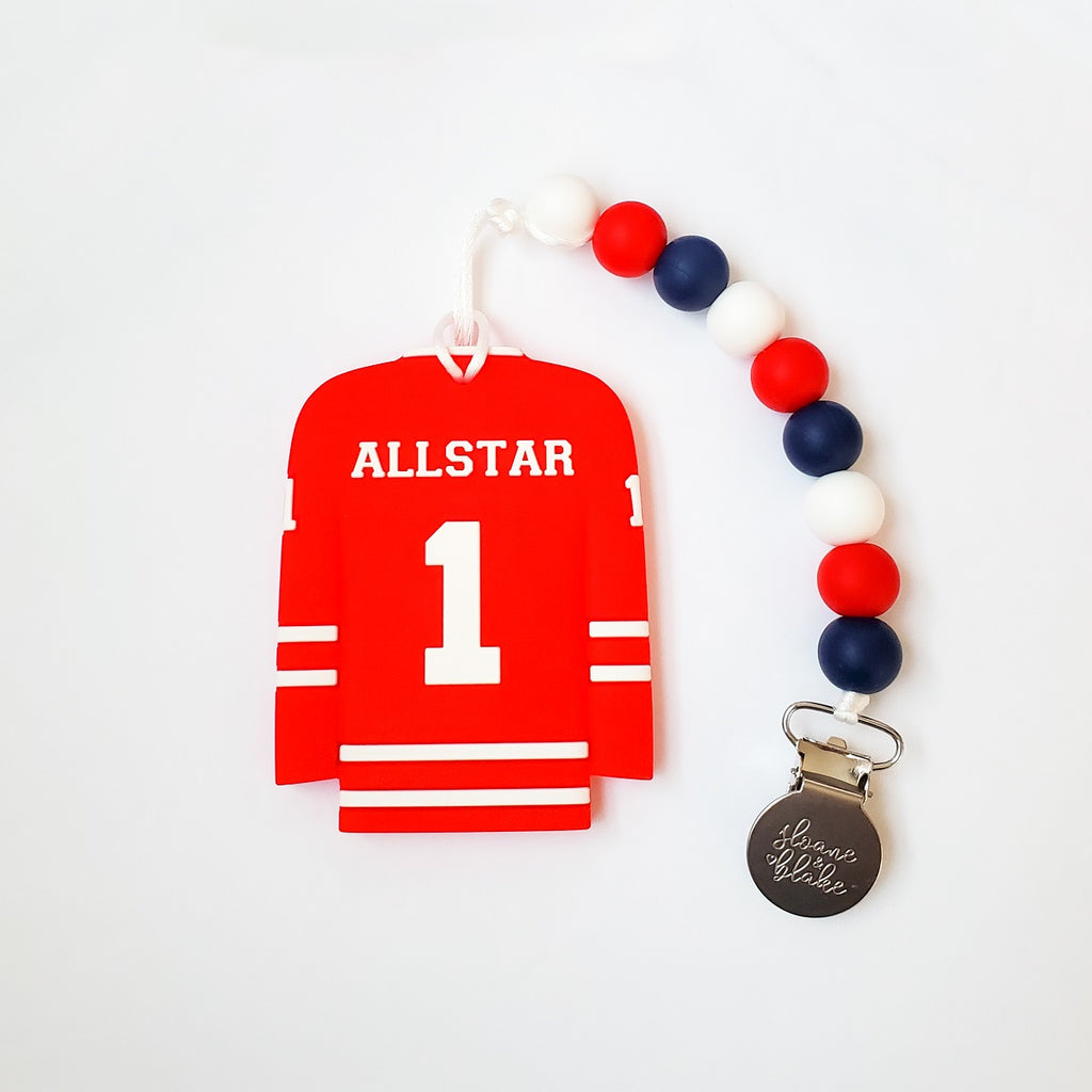 Sloane & Blake Teether & Clip - Red All Star Jersey