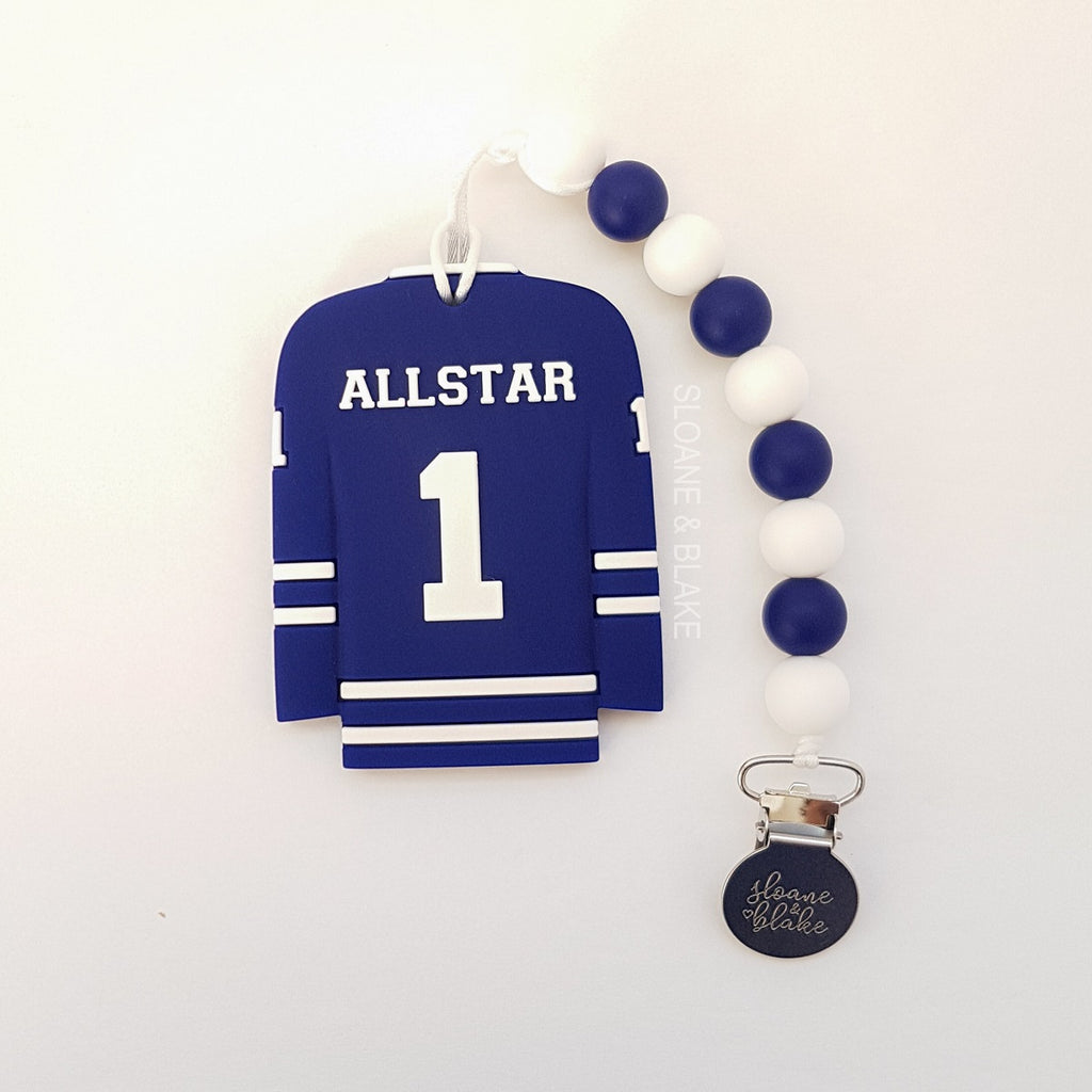 Sloane & Blake Teether & Clip - Blue All Star Jersey