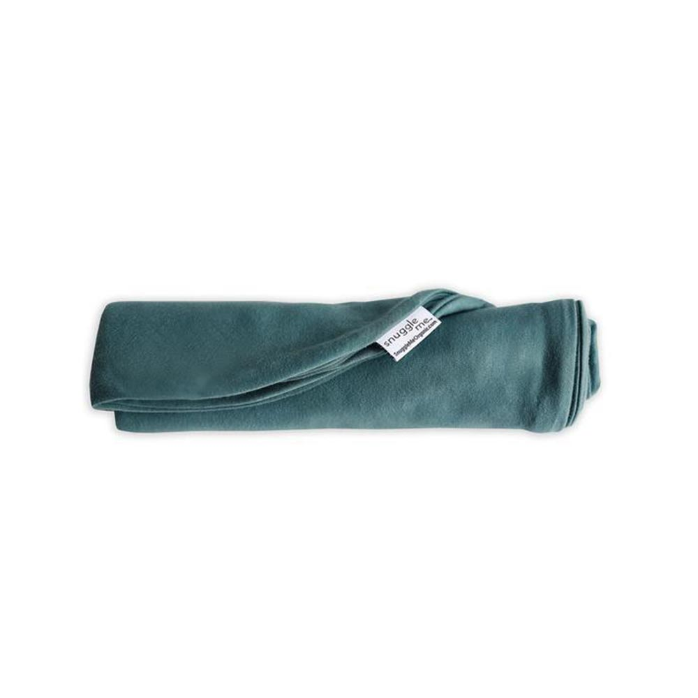 Cute baby on Snuggle Me Organic Infant Cover in Moss green.