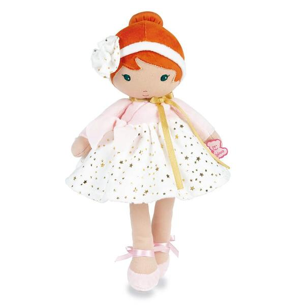 Valentine the red headed soft doll with Pink dress and white skirt with gold starts. This 32cm doll is also wearing pink velvet ballet shoes with pink satin ribbon.