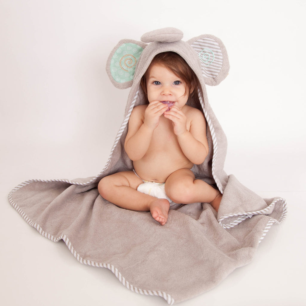 Elle Elephant hooded baby towel has big ears and a long trunk.