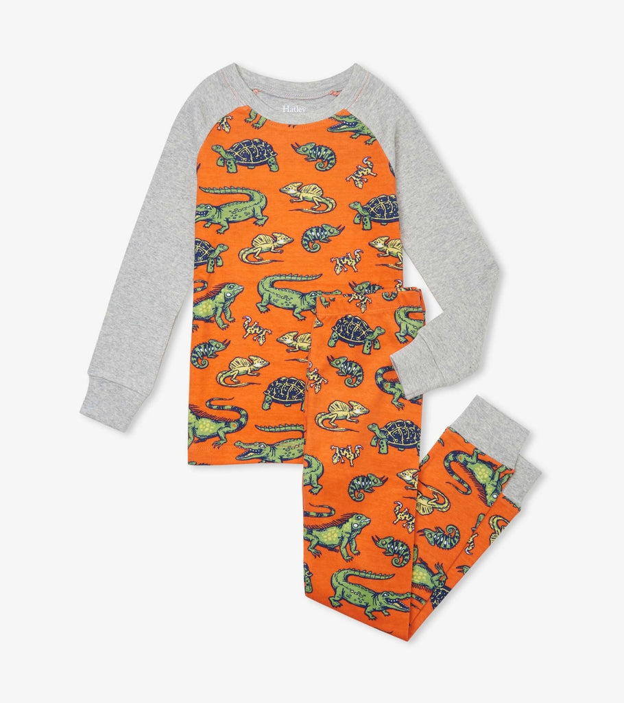 Hatley's long PJ set. Orange with light grey sleeves and cuffs. The pattern consists of many different aquatic reptiles.